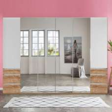 Danzig Mirror Wardrobe Large In White Planked Oak Effect