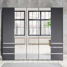 Danzig Mirrored Wardrobe In Graphite With 5 Doors And 6 Drawers