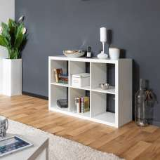 Darby Shelving Unit In White High Gloss With 6 Compartments