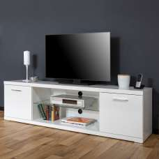 Darby Modern TV Stand Wide In White High Gloss With 2 Doors