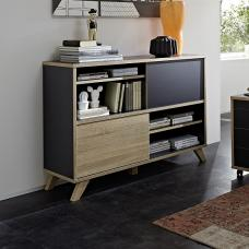 Darcey Wooden Shelving Unit In Anthracite And Sonoma Oak