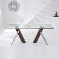 Darian Glass Dining Table In Clear With Walnut And Chrome Legs