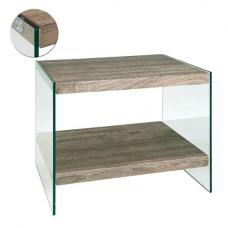 Olymp Dark Oak Side Table With Undershelf And Glass Legs
