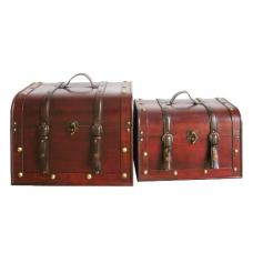 Set of 2 Dark Wood Storage Trunks