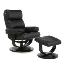 Darwin Recliner Chair In Black Faux Leather With Footstool
