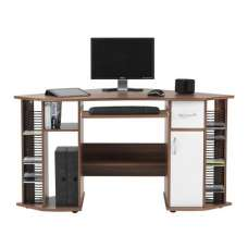Croft Wooden Corner Computer Desk In Walnut And White