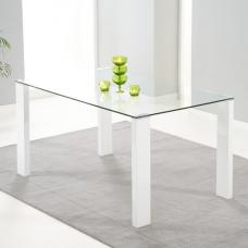 Davos Glass Dining Table In Clear With High Gloss White Legs