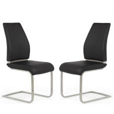 Dawlish Dining Chair In Black Faux Leather In A Pair