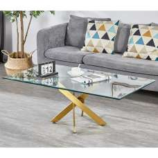 Daytona Clear Glass Coffee Table With Brushed Gold Legs
