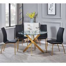 Daytona Round Glass Dining Table With Four Opal Black Chairs