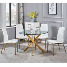 Daytona Round Glass Dining Table With Four Opal White Chairs