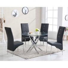 Daytona Round Glass Dining Table With 4 Vesta Black Chairs