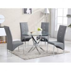 Daytona Round Glass Dining Table With 4 Vesta Grey Chairs
