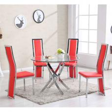 Daytona Round Glass Dining Table With 4 Collete Red Chairs