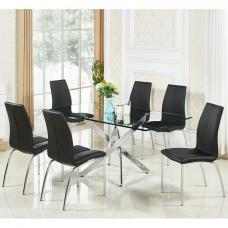 Daytona Glass Dining Table In Clear With 6 Opal Black Chairs