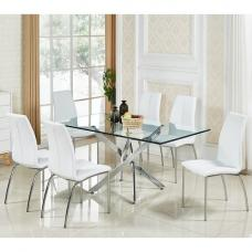 Daytona Glass Dining Table In Clear With 6 Opal White Chairs