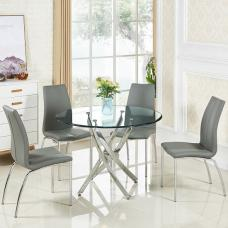 Daytona Round Glass Dining Table With 4 Opal Grey Chairs