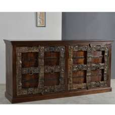 Delany Wooden Sideboard Wide In Brown With 4 Doors