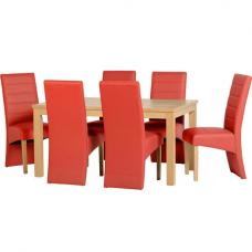 Delmonte Wooden Dining Set with 6 Red Dining Chairs