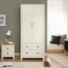 Crick Small Wardrobe In Cream With Oak Effect Top