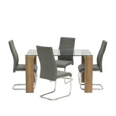 Devan Glass Dining Table Small In Clear With 4 Grey Chairs