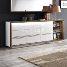 Devon Wooden Sideboard In White High Gloss With LED Lighting