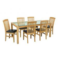 Solid Oak Glass Dining Table With Black Dining Chairs
