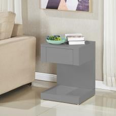 Dixon Bedside Table In Grey High Gloss With 1 Drawer