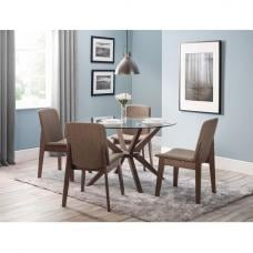 Domino Glass Dining Table In Clear With 4 Newbury Dining Chairs