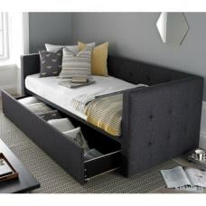 Donatella Modern Sofa Bed In Soft Grey With Storage Drawer