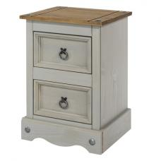 Dove Wooden Bedside Cabinet In Grey With 2 Drawers