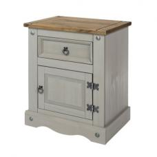 Dove Wooden Bedside Cabinet In Grey With 1 Door And 1 Drawer
