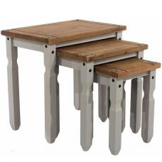 Dove Wooden Set Of 3 Nesting Tables In Grey