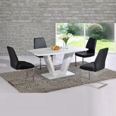 Ventura V Shaped White Dining Table And 4 Black Dining Chairs