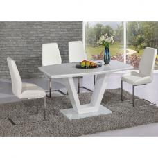 Ventura V Shaped White Dining Table And 4 White Dining Chairs