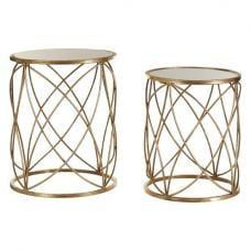 Duchess Mirrored Top Set Of 2 Side Table In Weathered Gold Iron