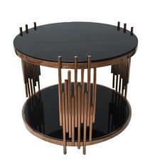 Eames Glass Coffee Table Round In Black With RoseGold Frame