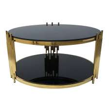 Eames Glass Coffee Table Wide In Black With Gold Frame