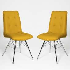 Eason Dining Chair In Ochre PU With Chrome Legs In A Pair
