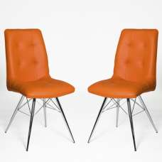 Eason Dining Chair In Orange PU With Chrome Legs In A Pair