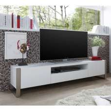 Easton Wooden TV Stand In Matt White With Brushed Steel Frame