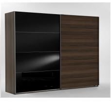 Emission Sliding Wardrobe In French Walnut And Black Glass Doors