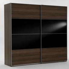 Emission Sliding Wardrobe French Walnut And Black Glass Inserts