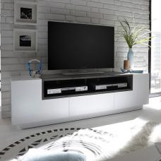 Eclipse Lowbord TV Stand In Matt White And Concrete