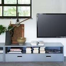 Edison Wooden TV Stand In Concrete Grey With 1 Flap Door
