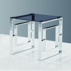 Elba Glass Side Table In Smoke With Polished Steel Frame