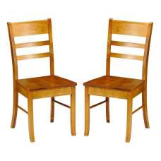 Elbeni Wooden Dining Chair In Honey Pine Lacquer In A Pair