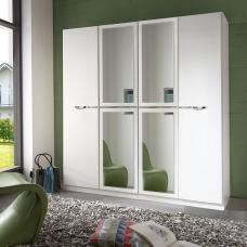 Eleana Mirror Wardrobe Large In Alpine White And Chrome Inserts