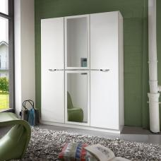 Eleana Mirror Wardrobe In Alpine White With Chrome Application