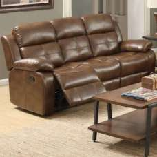 Elessia Reclining 3 Seater Sofa In Tan Faux Leather